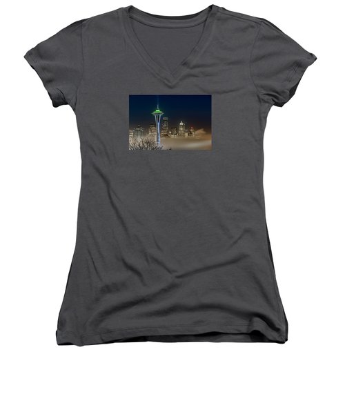 Women's V-Neck T-Shirt (Junior Cut) featuring the photograph Seattle Foggy Night Lights by Ken Stanback