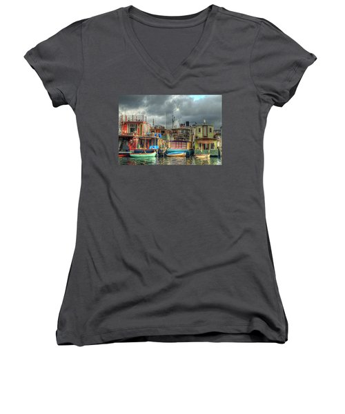 Seattle Houseboats Fine Art Photograph Women's V-Neck (Athletic Fit)