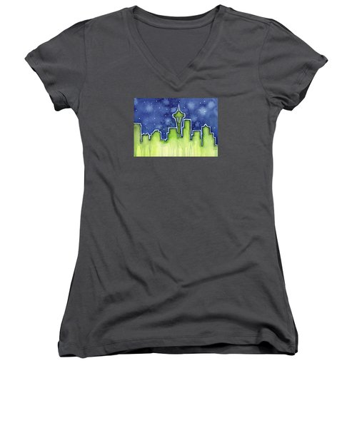 Seattle Night Sky Watercolor Women's V-Neck T-Shirt (Junior Cut) by Olga Shvartsur