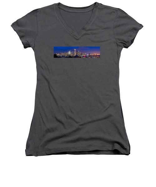 Seattle Night View Women's V-Neck T-Shirt (Junior Cut) by Ken Stanback
