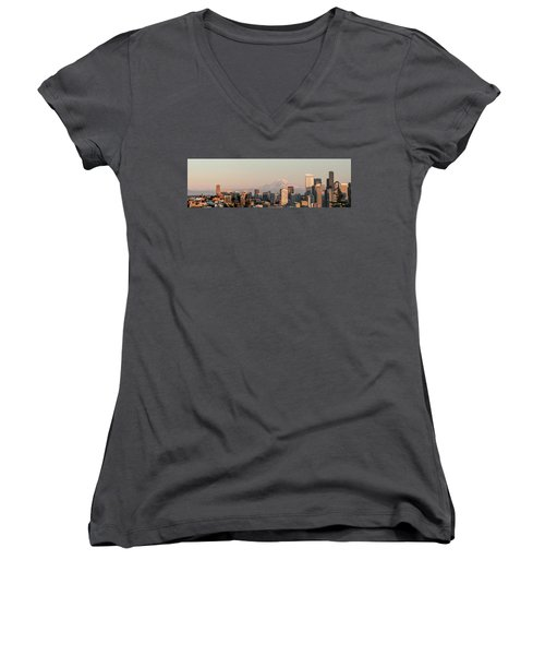 Women's V-Neck T-Shirt (Junior Cut) featuring the photograph Seattle Panorama At Dusk by E Faithe Lester