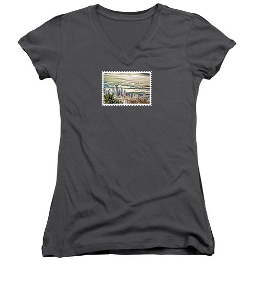 Seattle Skyline In Fog And Rain Women's V-Neck T-Shirt (Junior Cut)