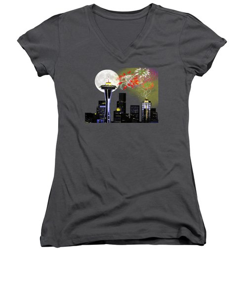 Seattle Skyline Women's V-Neck T-Shirt (Junior Cut) by Methune Hively