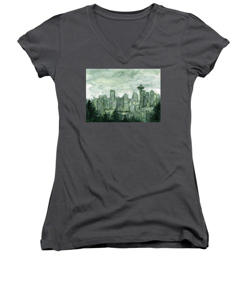 Seattle Skyline Watercolor Space Needle Women's V-Neck T-Shirt (Junior Cut) by Olga Shvartsur