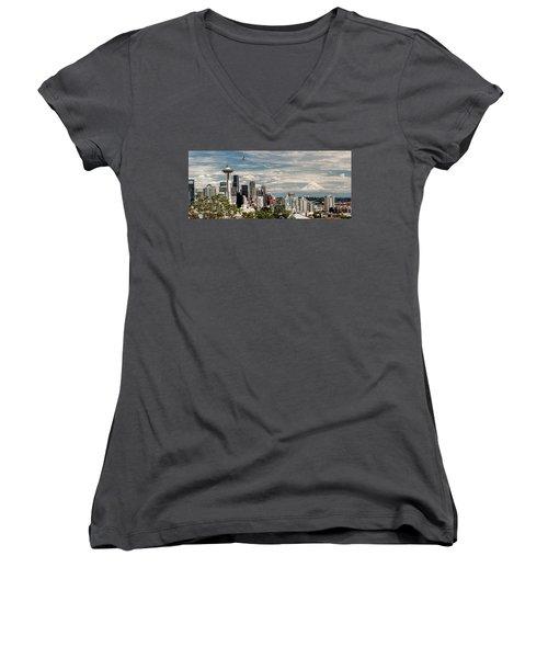 Seattle Space Needle With Mt. Rainier Women's V-Neck T-Shirt (Junior Cut) by Tony Locke