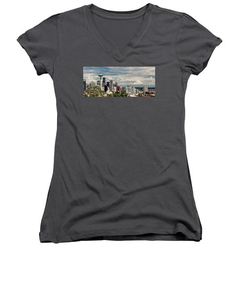 Seattle Space Needle With Mt. Rainier Women's V-Neck (Athletic Fit)