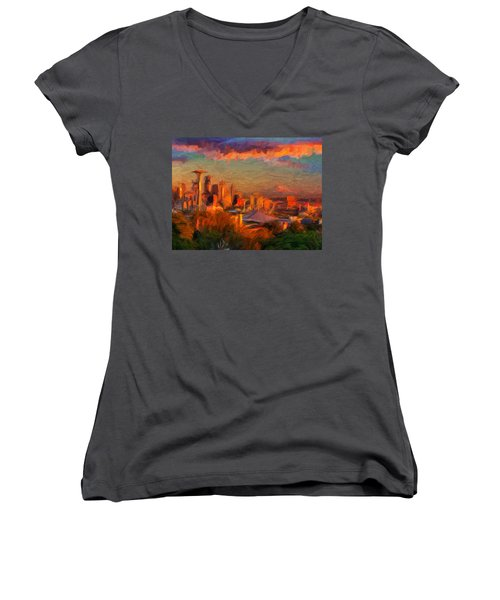 Seattle Sunset 1 Women's V-Neck T-Shirt (Junior Cut) by Caito Junqueira