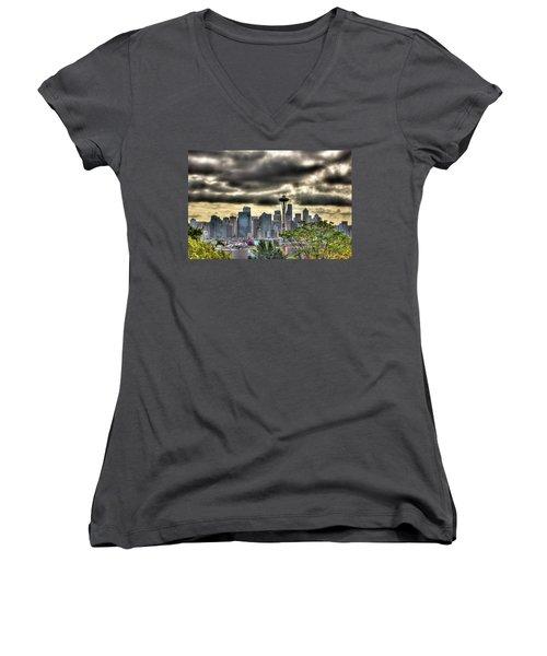 Seattle Washington Women's V-Neck T-Shirt (Junior Cut) by David Patterson
