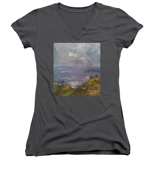 Seaview Women's V-Neck T-Shirt (Junior Cut) by Genevieve Brown