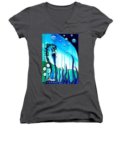 Seaweed - Art By Dora Hathazi Mendes Women's V-Neck T-Shirt (Junior Cut) by Dora Hathazi Mendes