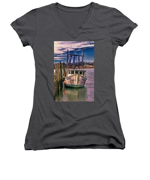 Seaworthy II Bristol Rhode Island Women's V-Neck T-Shirt (Junior Cut) by Tom Prendergast