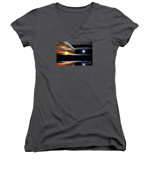 Sechelt Sunset Day And Night Women's V-Neck T-Shirt