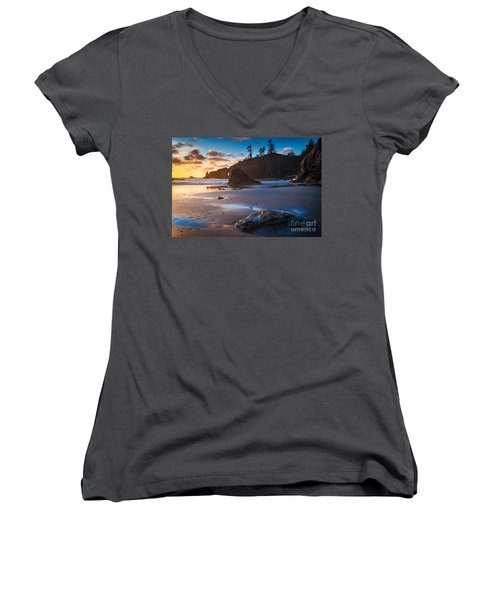 Second Beach Sunset Women's V-Neck (Athletic Fit)