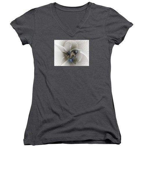 Women's V-Neck T-Shirt (Junior Cut) featuring the digital art Secret Chambers by Karin Kuhlmann