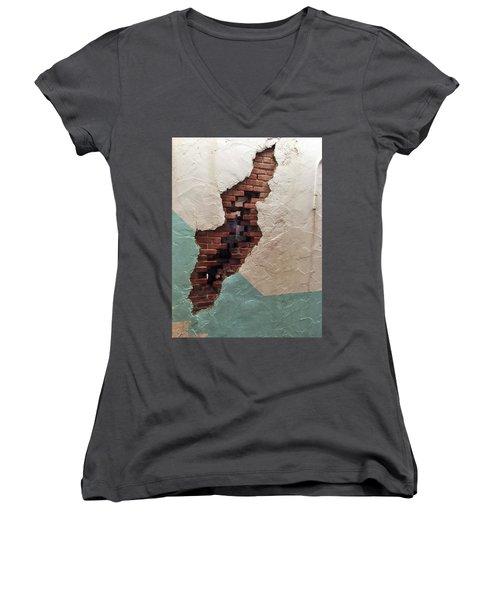 Secret Escape Women's V-Neck T-Shirt (Junior Cut) by Peggy Stokes