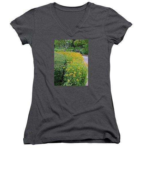 Women's V-Neck T-Shirt (Junior Cut) featuring the photograph Secret Garden by Judy Vincent