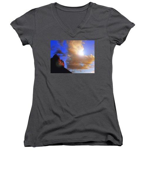 Sedona Mountain Cloud Sun Women's V-Neck