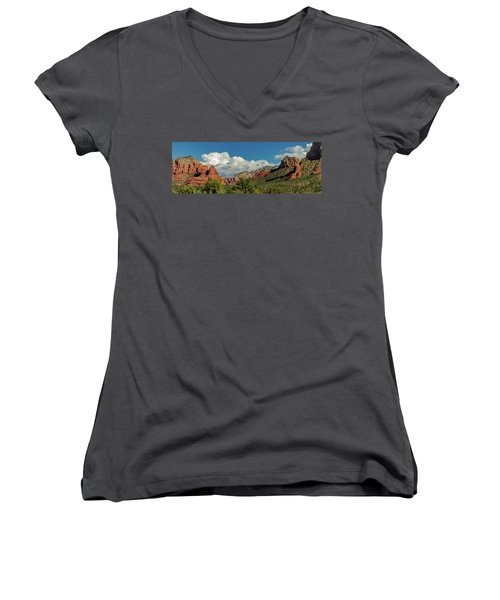 Women's V-Neck T-Shirt (Junior Cut) featuring the photograph Sedona Panoramic II by Bill Gallagher