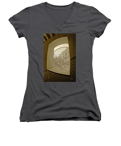 Women's V-Neck T-Shirt (Junior Cut) featuring the photograph Sedona Series - Through The Window by Ben and Raisa Gertsberg