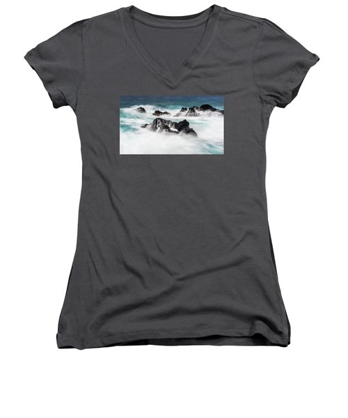 Women's V-Neck T-Shirt (Junior Cut) featuring the photograph Seduced By Waves by Jon Glaser