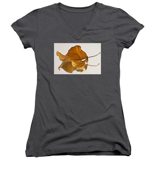Seeing Double Autumn Leaf  Women's V-Neck T-Shirt (Junior Cut) by Sandra Foster