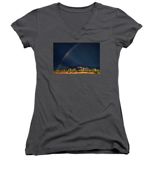 Women's V-Neck T-Shirt featuring the photograph Seeking That Pot Of Gold  by Saija Lehtonen