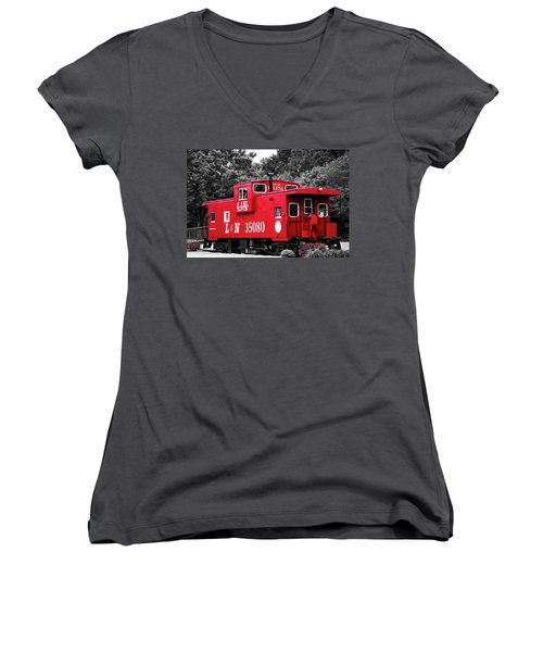 Women's V-Neck T-Shirt (Junior Cut) featuring the photograph Selective Color Red Caboose by Parker Cunningham