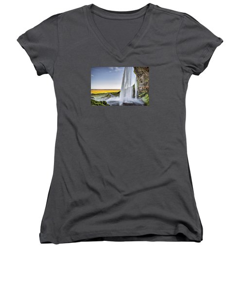 Seljalandsfoss Women's V-Neck T-Shirt (Junior Cut) by Brad Grove