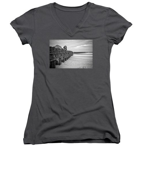 Women's V-Neck T-Shirt featuring the photograph Separation Monochrome by Alan Raasch