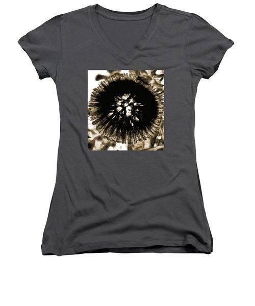 Sepia Dandelion Women's V-Neck T-Shirt