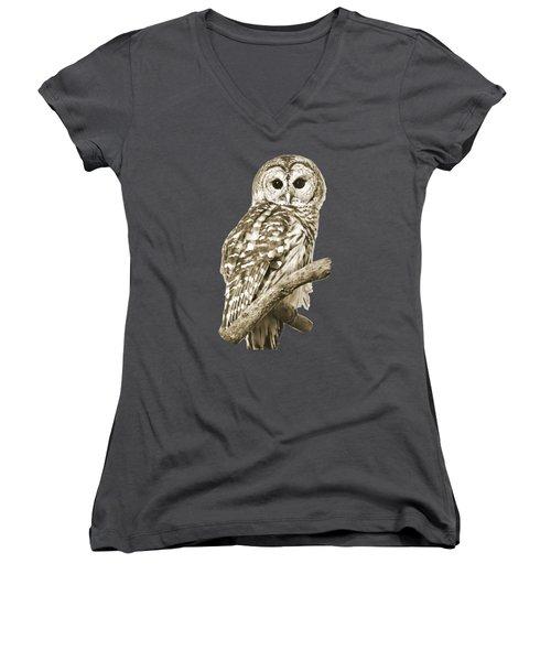 Sepia Owl Women's V-Neck T-Shirt (Junior Cut) by Christina Rollo