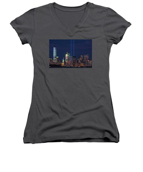 Women's V-Neck T-Shirt (Junior Cut) featuring the photograph September 11tribute In Light by Emmanuel Panagiotakis