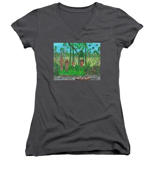 September   Hunters In The Jungle Women's V-Neck T-Shirt