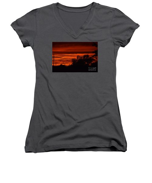 Women's V-Neck T-Shirt (Junior Cut) featuring the photograph September Kansas Sunset by Mark McReynolds