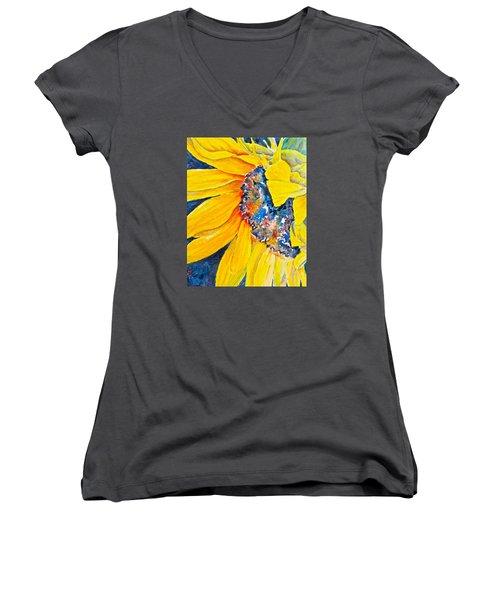 September Sunflower Women's V-Neck T-Shirt (Junior Cut) by Carolyn Rosenberger