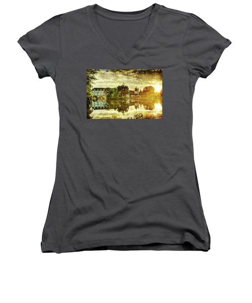 September Sunset In Chenonceau - Vintage Version Women's V-Neck