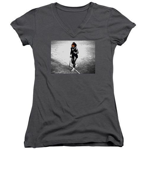 Serena Williams Match Point 3a Women's V-Neck T-Shirt (Junior Cut) by Brian Reaves