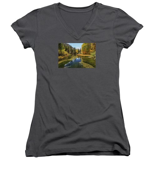 Serene Stream Women's V-Neck T-Shirt