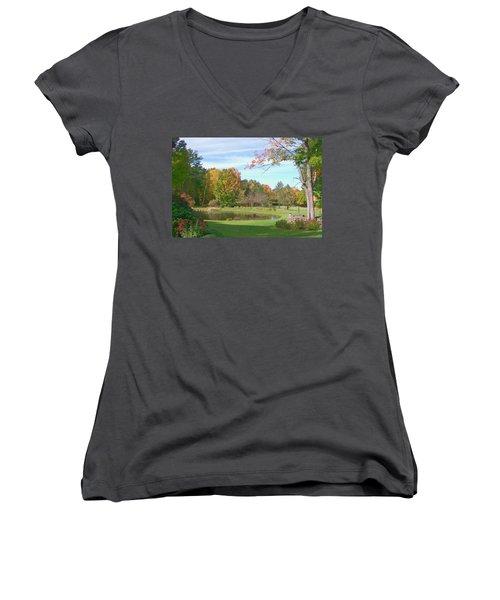 Women's V-Neck T-Shirt (Junior Cut) featuring the digital art Serenity by Barbara S Nickerson