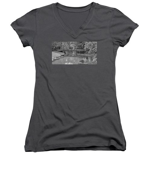 Serenity B And W Women's V-Neck T-Shirt (Junior Cut) by Ansel Price