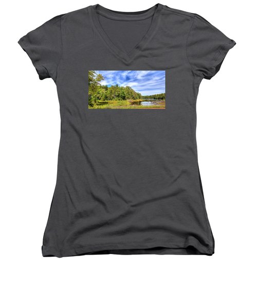 Women's V-Neck T-Shirt (Junior Cut) featuring the photograph Serenity On Bald Mountain Pond by David Patterson