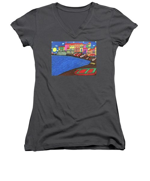 Sestri Levante Italy Women's V-Neck T-Shirt