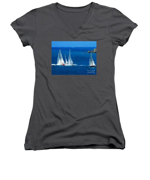 Women's V-Neck T-Shirt (Junior Cut) featuring the digital art Set Sail by Anthony Fishburne