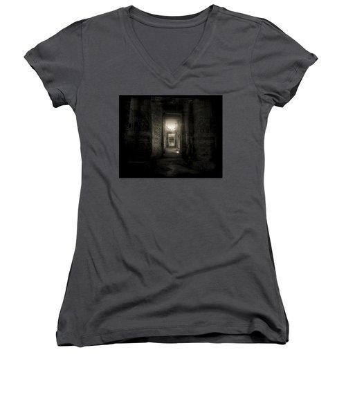 Seti I Temple Abydos Women's V-Neck T-Shirt (Junior Cut) by Nigel Fletcher-Jones