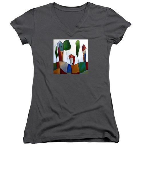 Settling Down Women's V-Neck T-Shirt (Junior Cut) by Tom Fedro - Fidostudio