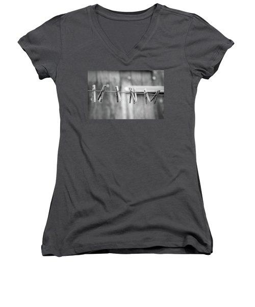Seven Clothes Pins Women's V-Neck T-Shirt (Junior Cut) by Marius Sipa