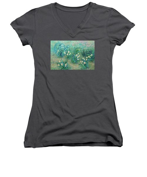 Women's V-Neck T-Shirt featuring the painting Seven Daffodils by Xueling Zou