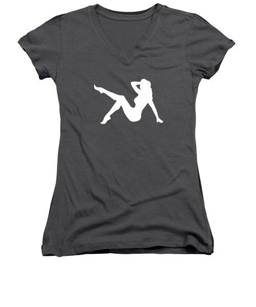 Sexy Trucker Girl White Tee Women's V-Neck T-Shirt (Junior Cut) by Edward Fielding