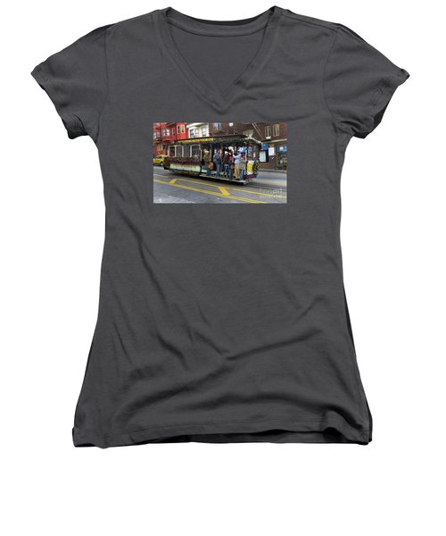Sf Cable Car Powell And Mason Sts Women's V-Neck T-Shirt (Junior Cut) by Steven Spak