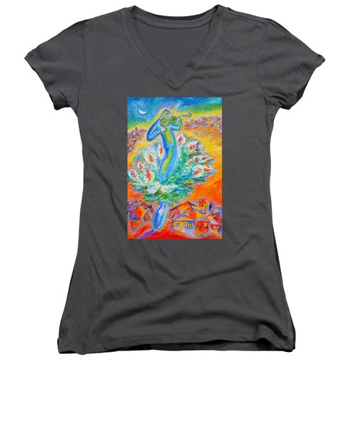 Shabbat Shalom Women's V-Neck (Athletic Fit)